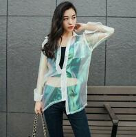 Holographic Outerwear Jacket UV Sunscreen Hologram Laser Transparent Top Blouse