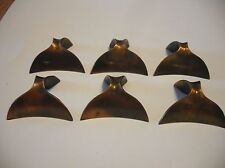 Six Vintage Copper Drawer Finger Door Pulls Art Deco Knobs Whale Tail Design
