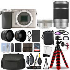 Sony Alpha a6400 Camera Silver + 16-50mm + 55-210mm 32GB Multi Lens Bundle