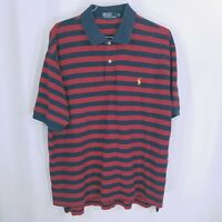 Polo By Ralph Lauren Mens Collared Striped Blue Red Polo Shirt Size 2XL*