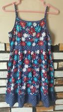 Swak Girls Patriotic Red White & Blue Floral Dress Sundress Flag Size 14