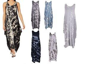 Women Lagenlook Italian Tie Dye Sleeveless Scoop Neck Dress One Size Plus