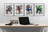Marvel Avengers Comic Superhero Set Of 4 Prints Pictures Wall Art Poster