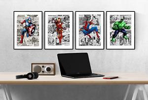 Marvel Avengers Comic Superhero Set Of 4 Prints Pictures Wall Art Poster