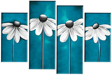 TEAL GREY CANVAS PICTURE FLORAL DAISIES 4 PANEL SET SPLIT WALL ART MULTI 100cm