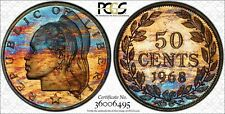 1968 LIBERIA 50 CENTS PCGS PR65 DEEP COLOR TONED ONLY 13 GRADED HIGHER !