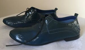 Costume National 2-Tone Blue Italian Leather Women's Oxford Shoes Size Aust 7.5
