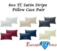 800 TC Thread Count Housewife Pillowcase Pair Luxurious Cotton Rich Satin Stripe