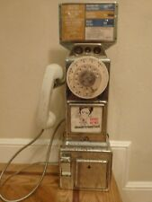 Vintage Chrome Automatic Electric Co. Pay Phone Telephone 3 Slot Rotary Dial