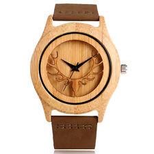 Natural Wood Deer Head Genuine Leather Band Men's Quartz Wrist Watch Bracelet