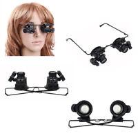 20x fach Juwelier Uhrmacher Lupe Brillenlupe Lupenbrille Licht LED Reparatu D6U1