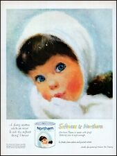 1960 young girl fur mittens hat face Northern tissue retro art print ad adl75