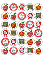 30X THANK YOU TEACHER PREMIUM EDIBLE RICE PAPER Cake Toppers D2
