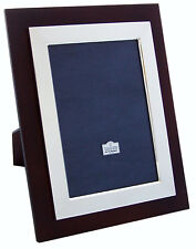 "Sterling Silver Art Deco Photo Frame 10"" x 8""  Tulip Wood Front"