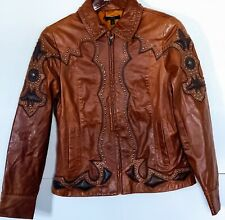 REBA BROWN LEATHER JACKET-Crosses-Brass Studs-Blazer/Jacket-Pockets-Lined-Sz S