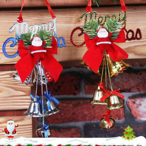 2PCS Merry Christmas Santa Hanging Decoration Tree Pendants Ring Bell Ornaments