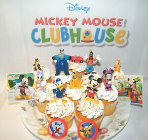 Disney Mickey Mouse Clubhouse Cake Toppers Set of 14 Figures, Rings and Stickers