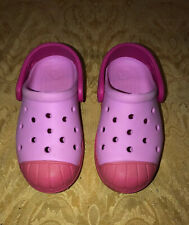 Girls Youth crocs size c9 9 Two Tone Pink Shoes Sandals