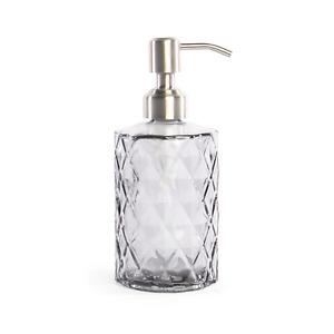 12oz Crystal Glass Soap Dispenser Refillable Hand Soap Bottle M&W