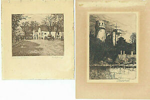 2 Impressionist Cityscapes Etchings, signed