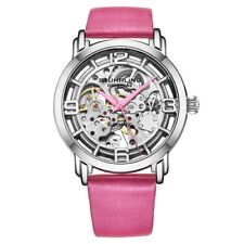 Stuhrling 3982 3 Winchester Automatic Skeleton Pink Leather Womens Watch
