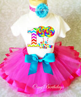 Chevron Candy hot pink Baby Girl 1st First Birthday Tutu Outfit Shirt Set
