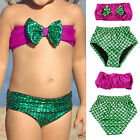 2 pz Set Bikini ragazze Sirena Costume da bagno a fascia abbigliamento Spiaggia