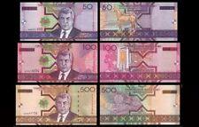 Turkmenistan 50 ,100 & 500 Mannats Set of 3 Pcs UNC Uncirculated Banknotes 2005