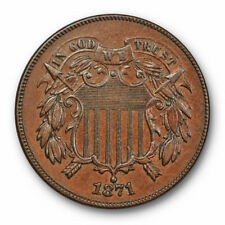 1871 Two Cent Piece Uncirculated High End Mint State Brown US Coin #9181