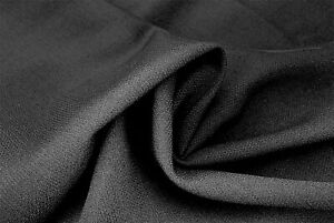 BLACK PURE WOOL PLAIN WEAVE SUPER 150's YARN LUXURY TAILORING MADE IN ITALY E8