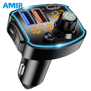 Wireless Bluetooth FM Radio Adapter, QC3.0+Type-C PD 18W USB C Fast Charger