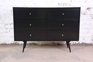 Paul McCobb Black Lacquered Planner Group Six-Drawer Dresser