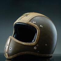 Vintage Motorcycle Helmet Full Face Deluxe Leather Cruiser Street Bike Motocross
