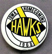 "1968 IOWA HOMECOMING  football 2"" pinback button ^"