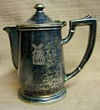 """Mills"" Art Deco Silver Covered Cream Pitcher Windmill Logo - Int'l Silver Co"