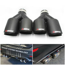 "2PCS  Carbon Fiber Exhaust Tip Dual Pipe Black ID:2.5"" 63mm OD:3.5"" 89mm"