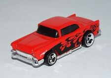 Hot Wheels 1 Loose 2001 Pavement Pounders '55 Chevy Red w/ Flames 3SPs