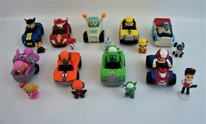 Paw Patrol Cars & Figures Lot Chase Marshall Rubble Robo Dog Skye Everest & More