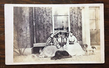 CDV of Ladies With Three Dogs, Spaniel & Terrier by Unknown Photographer