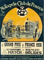 1926 MOTORCYCLE CLUB PARIS GRAND PRIX POSTER AUTO RACING INDY 500 CAR GEO HAM