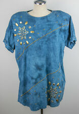 Vintage 80's Marshall Rousso Women's L 80' Rhinestone shirt with Shoulder pads