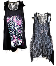 Black pink torso skeleton goth skull back see through lace panel fairy top 3X