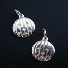 925 Sterling Silver Pumpkin Charm Disc- Silver Jack-0-Lantern Charm-9.5mm-1pc