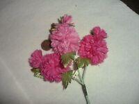 Vintage Pink/ Dark Pink Organza Carnation on Stems made in Japan