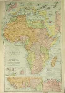 1912 LARGE ANTIQUE MAP ~ AFRICA ~ WITH WEST COAST MAURITUS CANARY ISLANDS