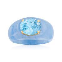 Ross-Simons Sky Blue Topaz & Blue Jade Ring with 14kt Gold