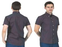 Men's Relco Ska Tonic 2 Tone Burgundy Button Down Short Sleeved Shirt Mods Skins