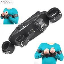 Black Real Cow Hide Leather Padded Arms to Chest Restraints Belt