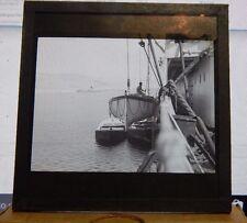 Antique Glass slide Merchant Ship Going Through The Locks  1930's