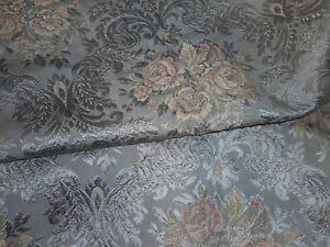Antique Romantic Roses Floral English Satin Brocade Fabric #1 ~ Gray Blue